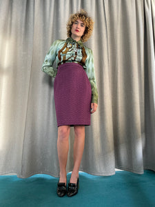 Christian Lacroix 90's purple quilted pencil skirt