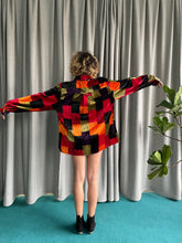Load image into Gallery viewer, 80's colorblock velvet oversized shirt