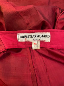 80's Christian Aujard deep red silk straight high waisted pants