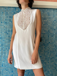 Ozbek 90s white dress with ruffled collar