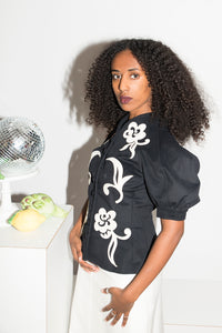 Irie Wash Y2K felt-like sculptural blouse with floral details
