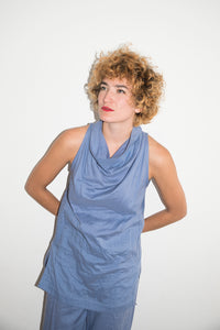 Issey Miyake 80's Tunic Two Piece Set in Baby Blue