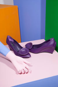 Jil Sander Early 2000's Tulip Wedges in Purple