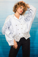 Load image into Gallery viewer, 80's Judith Ann denim Cowboy shirt in light blue with fringes and diamonds