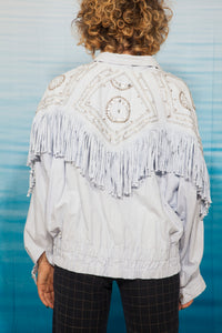 80's Judith Ann denim Cowboy shirt in light blue with fringes and diamonds