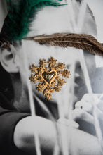 Load image into Gallery viewer, Christian Lacroix 90's Heart and Flower Golden Broche