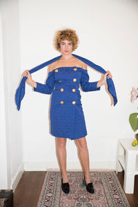 Christian Lacroix 80's Open Shoulder Dress in Royal Blue with Matching Scarf