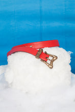 Load image into Gallery viewer, Christian Lacroix 90's red leather belt with golden sculpted buckle