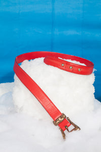 Christian Lacroix 90's red leather belt with golden sculpted buckle