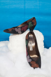 Lanvin suede 80's kitten heels with leaf embroideries
