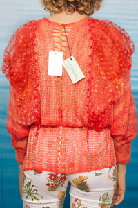 gorgeous 70's Mali handknit cardigan in bright red