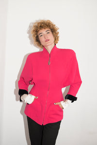 Mugler 1980's Fucshia Blazer With Shoulder Pads