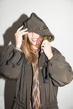 Load image into Gallery viewer, Ozbek 1980s Hooded Khaki Raincoat with golden lining