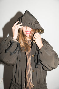 Ozbek 1980s Hooded Khaki Raincoat with golden lining