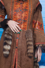 Load image into Gallery viewer, Extraordinary Roberto Cavalli 70's patchwork leather coat with fur lining