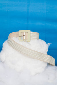 Scherrer 80's nylon woven belt with plastic square buckle in light mint green