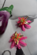 Load image into Gallery viewer, Scherrer 80's Bright Pink Earrings