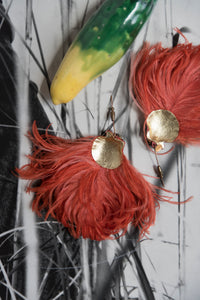 Shell Feather Pins in Orange