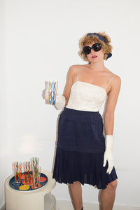 Tarlazzi 80's draped skirt in navy blue