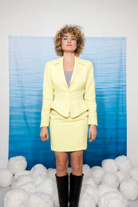 Thierry Mugler 80s skirt suit in bright yellow