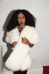 No Label 80s White Fur Scarf