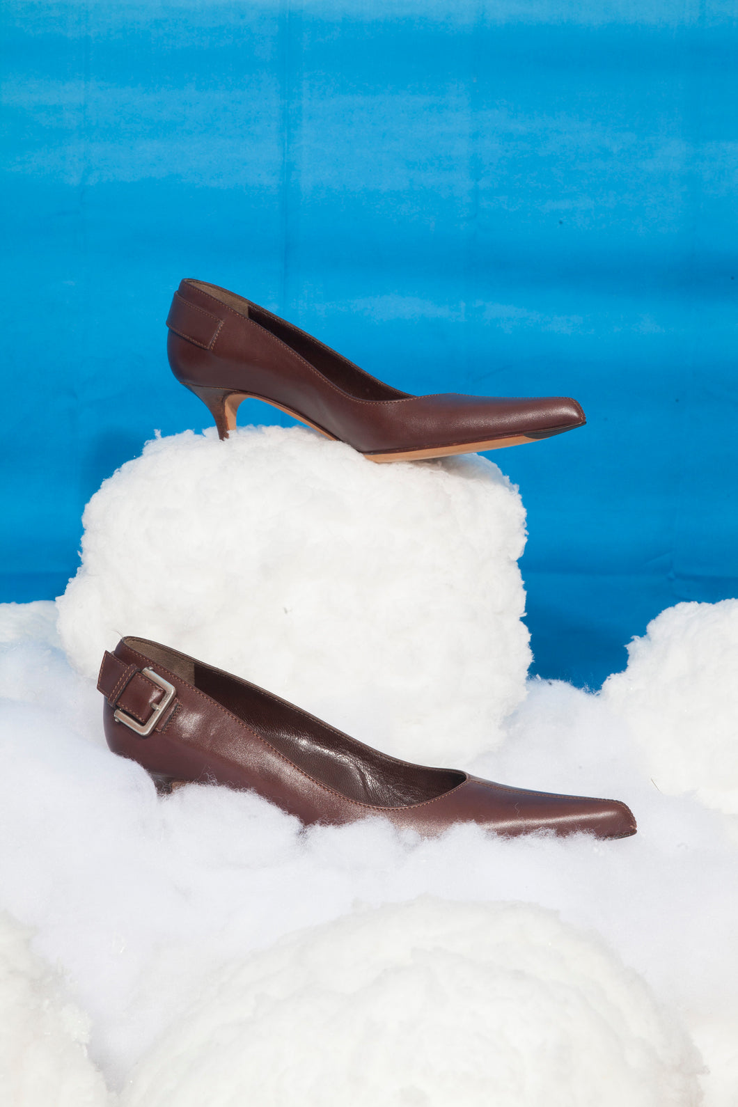 Yves Saint Laurent Y2K leather heels with belt detail in brown