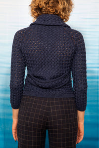 Burberry Y2K knit cardigan with removable collar in  navy