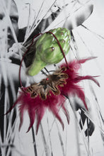 Load image into Gallery viewer, Fucshia Feathered Vintage Necklace