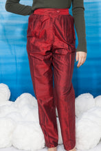 Load image into Gallery viewer, 80's Christian Aujard deep red silk straight high waisted pants