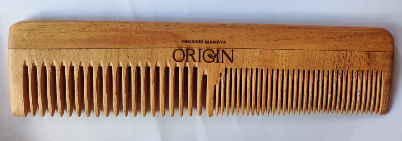 Pure Neem Wood Hair Comb - Double Tooth