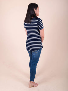 Mia navy stripes back