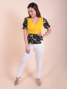Annie Yellow-Deep Green Floral front