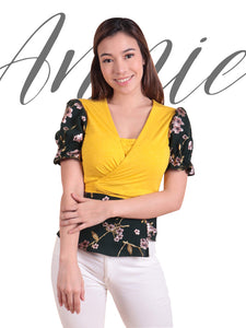 Annie Yellow-Deep Green Floral cover