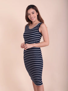 Emma Dress navy stripes front