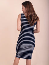 Load image into Gallery viewer, Emma Dress navy stripes back