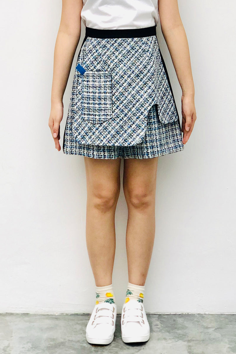 S16 SP01B || TENNIS SHORTS IN BLUE/BEIGE