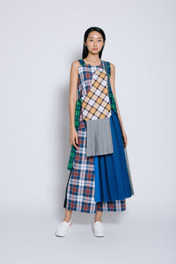 S14 TT06B || TARTAN TOP WITH PLEATS