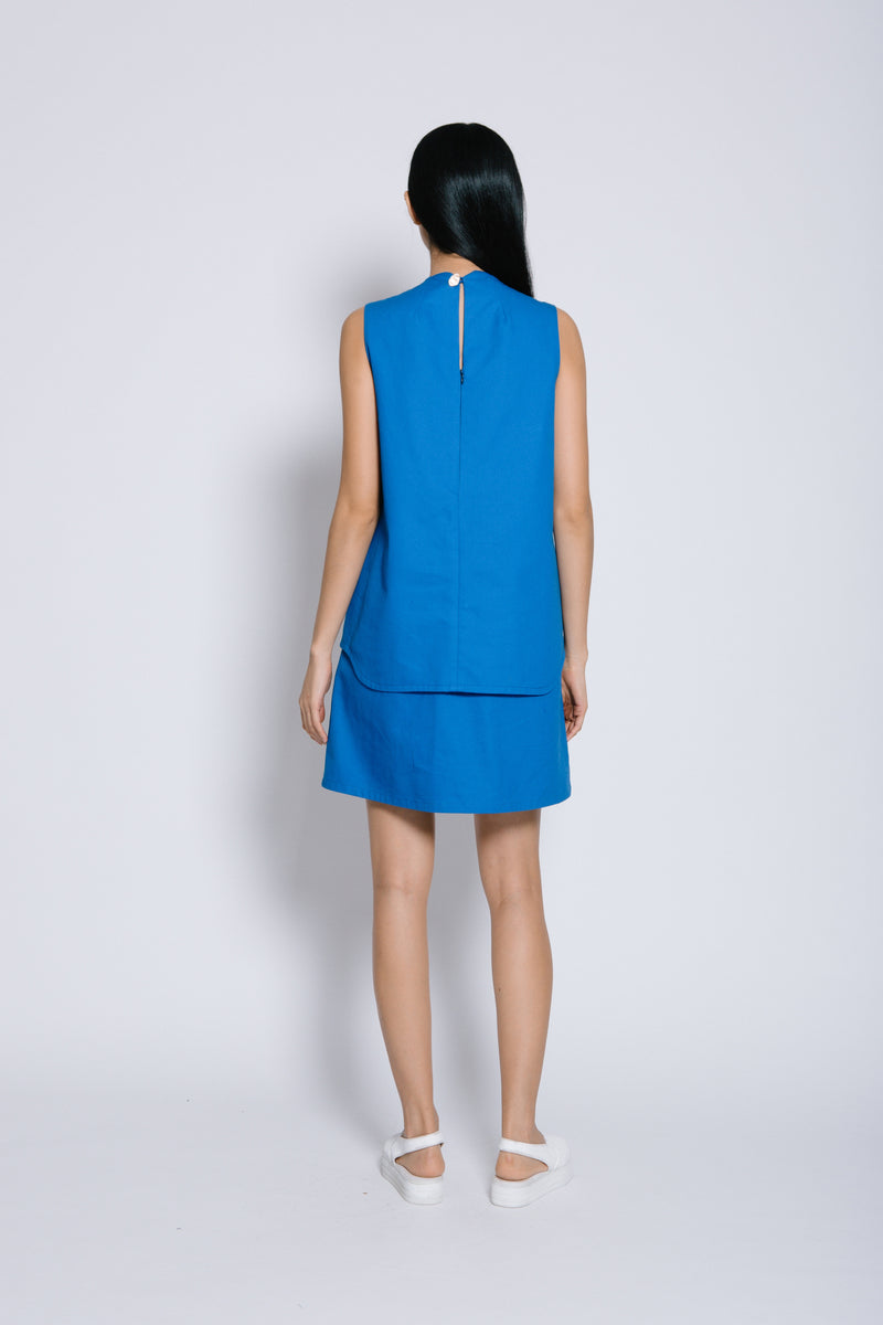 S14 DD10 || ROYAL BLUE DRESS WITH PLEATED HEM