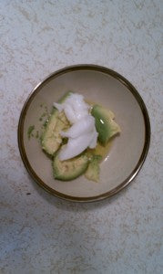 Olive oil, coconut oil and avocado hair mask recipe.