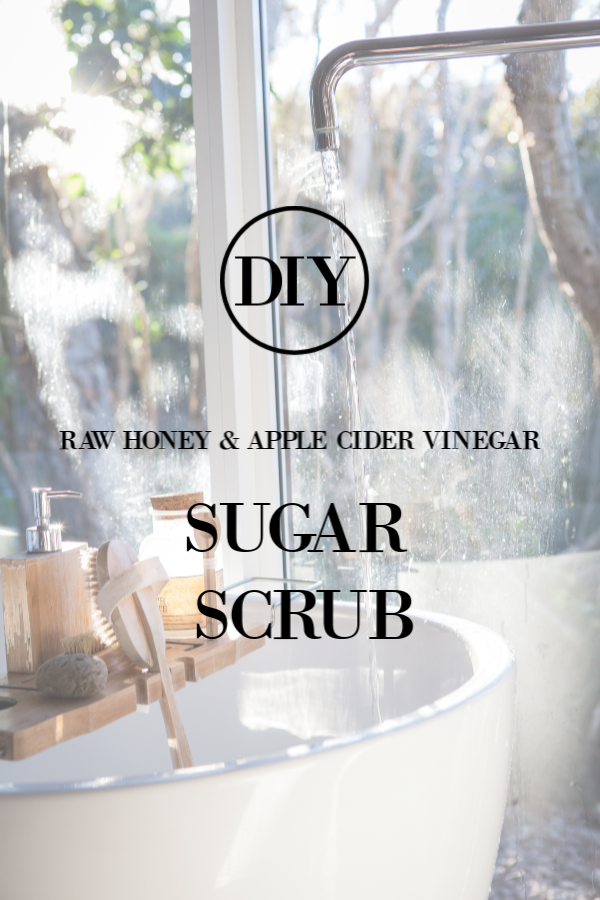 DIY raw honey and apple cider vinegar sugar scrub. #DIYbeauty #sugarscrub #skincare