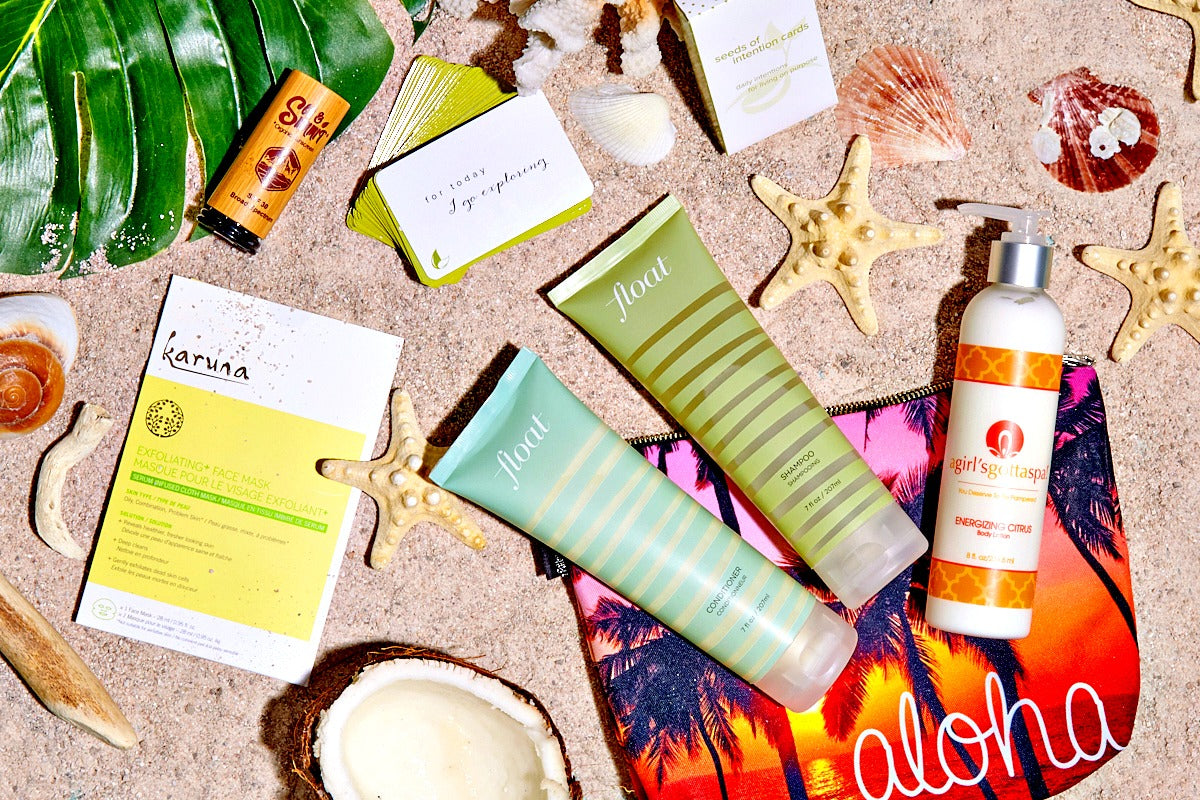 The Wanderlust by Bikini.com Maui box, winter 2017/18 featuring @agirlsgottaspa body lotion