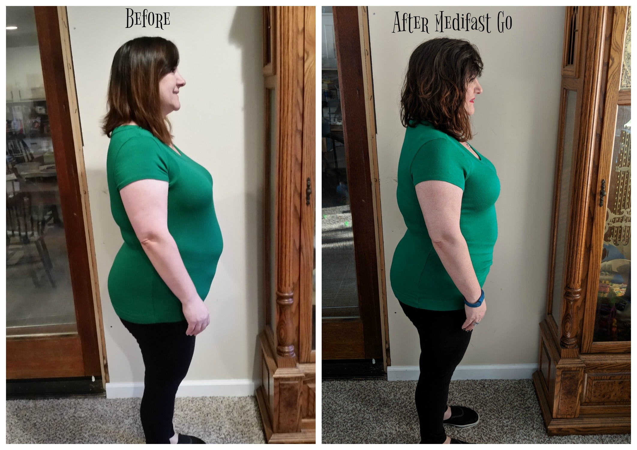 Before and after pics on Medifast Go via @agirlsgottaspa. Inches lost are obvious! #sponsored #medifast #weightlossjourney #diet