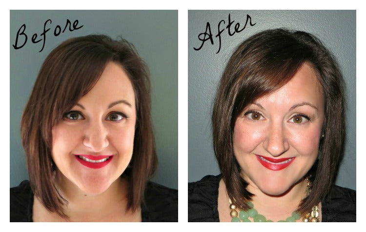 Before and 4 weeks after using only the @nexxushair #ColorAssure system review from @agirlsgottaspa @CNSway #haircare