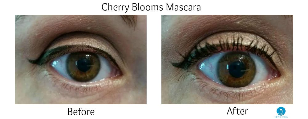 Cherry Blooms Fibre Mascara before and after, review via @agirlsgottaspa