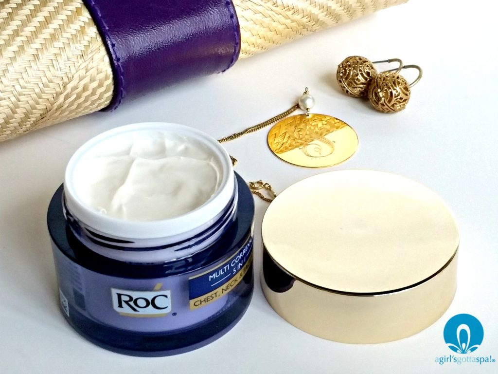 Your neck is one of the first places to show signs of aging. Roc Multi Correxion 5 in 1 Chest, Neck and Face Cream review via @agirlsgottaspa #ad #WomenWhoRoC