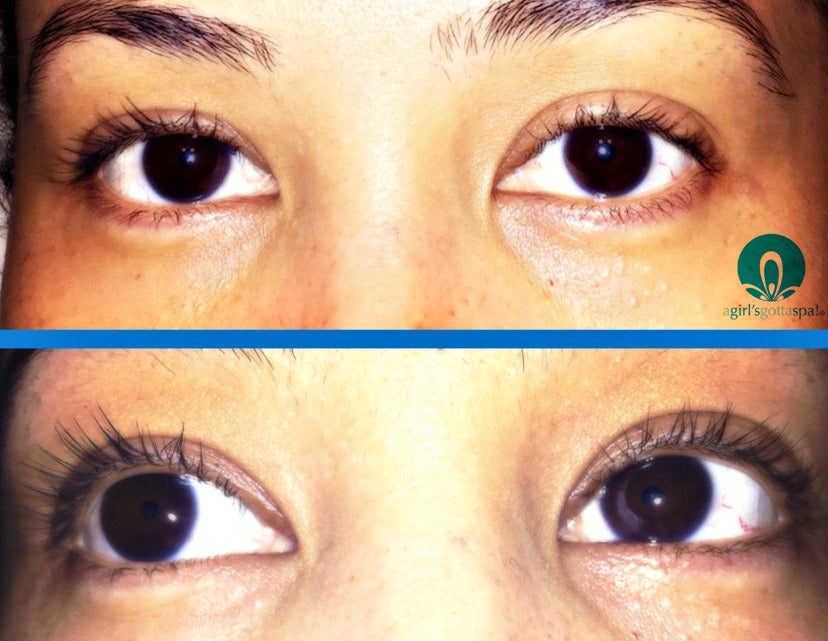 Before and after with Circa Beauty's mascara via @agirlsgottaspa