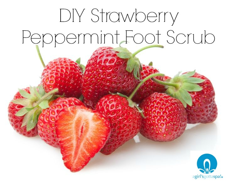 DIY Strawberry Peppermint Foot Scrub. Smells delicious and super skin softening! via @agirlsgottaspa