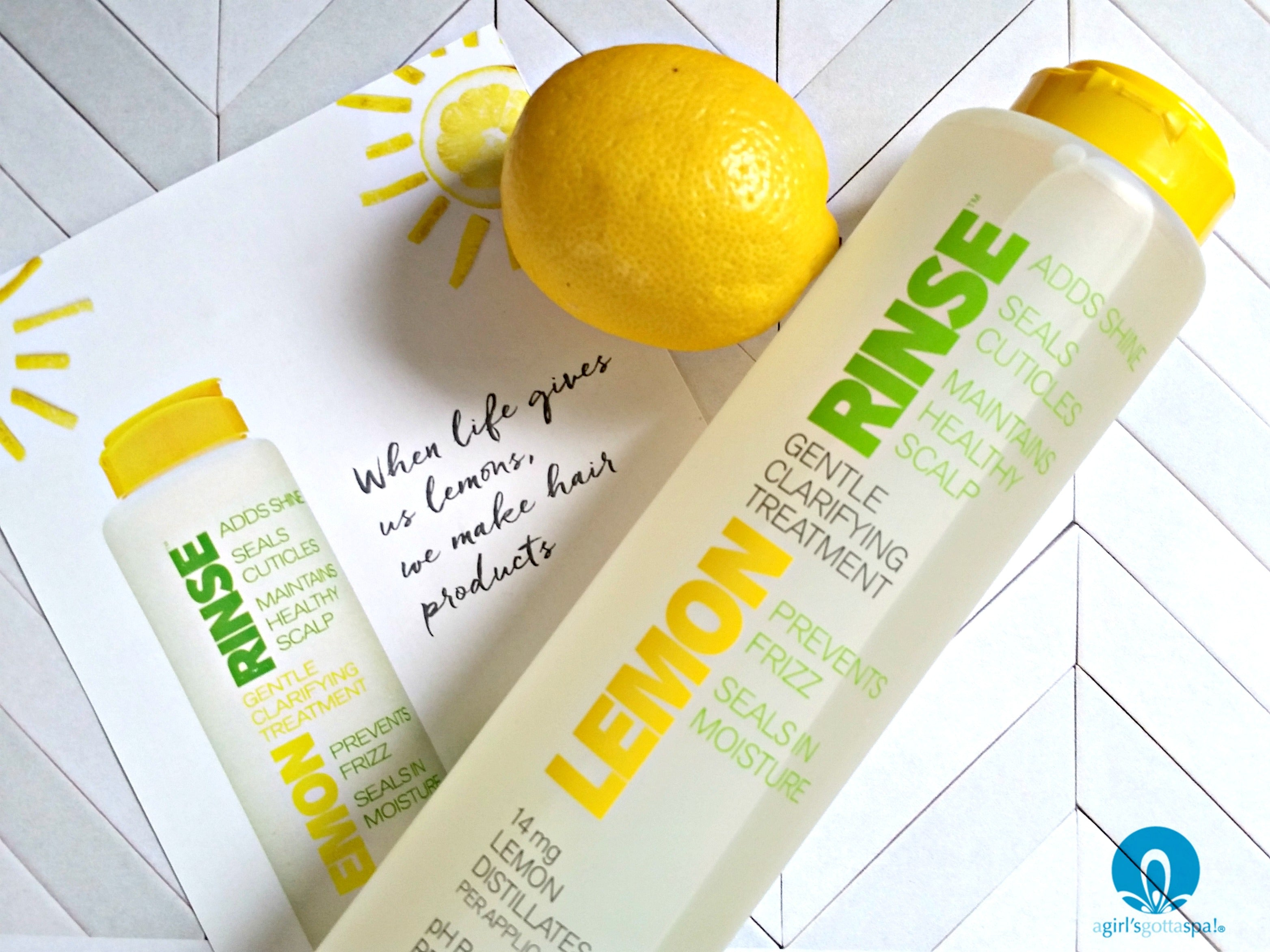 Hair clarifying treatment with Lemon Rinse from Beautiful Nutrition via @agirlsgottaspa