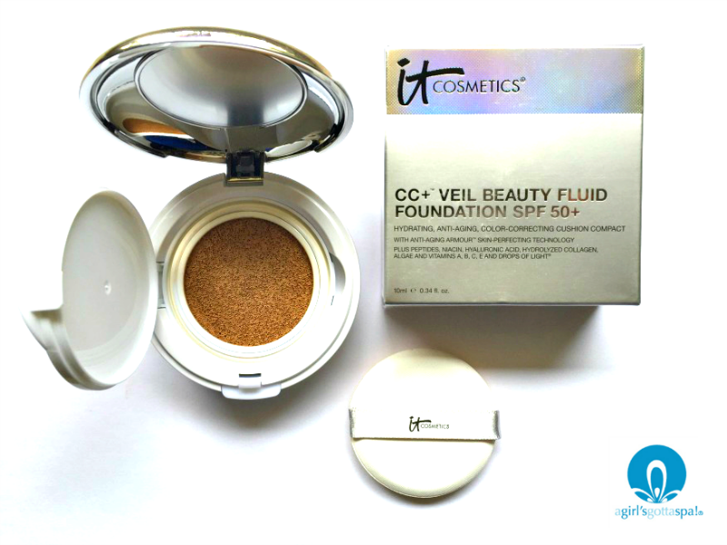 @itscosmetics CC+ Veil Beauty Fluid Cushion Compact review via @agirlsgottaspa