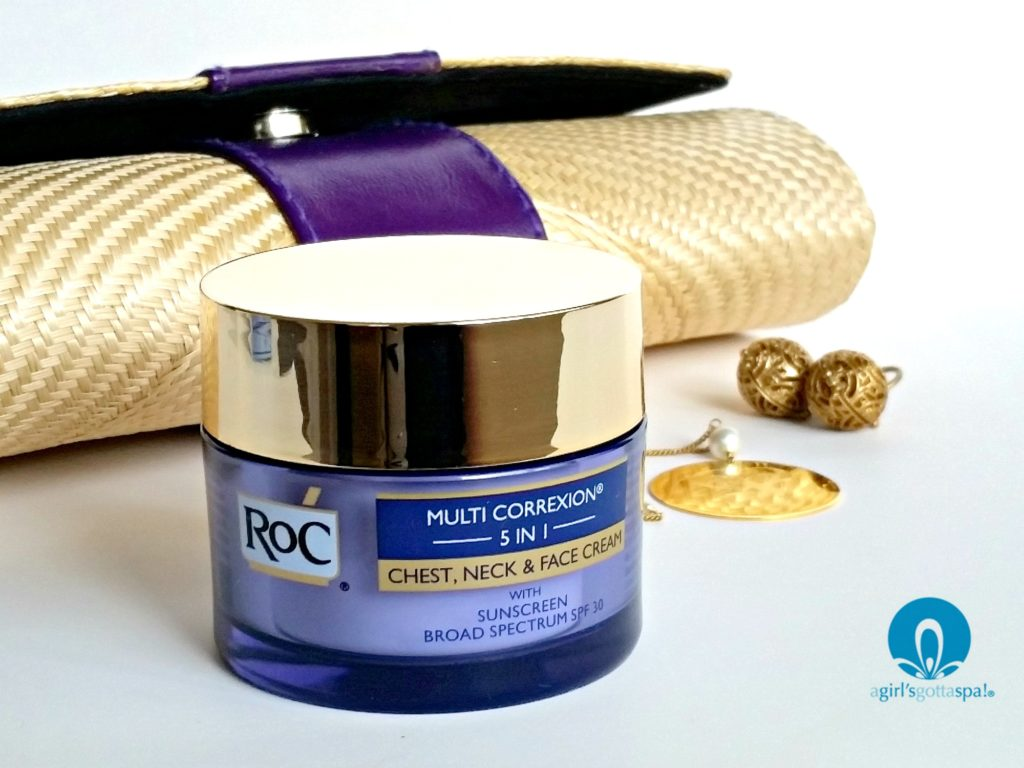 Roc Multi-correxion 5 in 1 chest, neck and face cream review via @agirlsgottaspa #ad #WomenWhoRoC